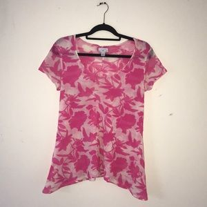 New York and company pink floral blouse